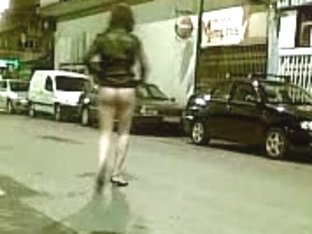 Half-Nude Tranny In The Street