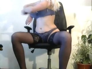 Blonde Bridge in black stockings