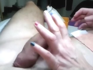 Getting strapon and balls waxed - public studio!