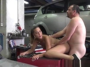 Young Hoe Naomi Bennet Gets Bent Over By Mechanic