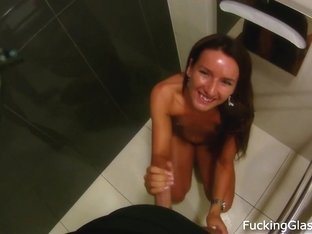 Fucking Glasses - Sweet strawberry fuck in a WC