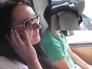 Hottie in sunglasses wind blown upskirt