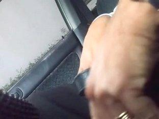 Hot brunette in car
