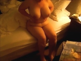 Naked wife's enormous boobs