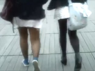 2 Girls - 1 Black Pantyhose the other Black Opaque Tights