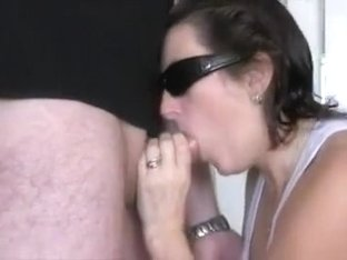 Horny wife in shades sucks a stranger's dick like a pro and gets cum in mouth
