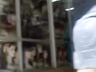 Babe in black dress was filmed by the stranger's spy camera