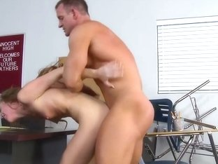 Cute redhead student satisfying her teacher