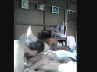 Asian girl sucks her bf hard, rides him pov and has missionary sex.