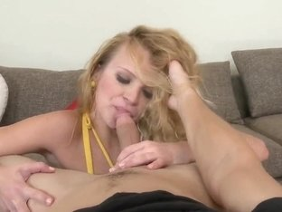 Young adorable blonde swallows a gigantic hairy dick