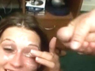 Dirty whore enjoys a bukkake treatment