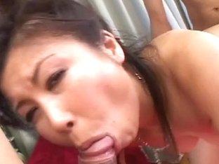 MMF action with oral cumshot Marin Asaoka