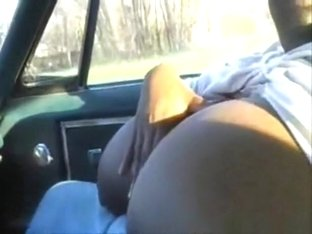 Fat ebony girl with huge boobs bounces them around and sucks her bf's cock in public in his car