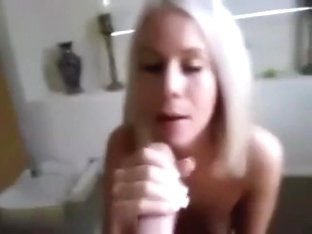 Cute blond engulfing large shlong for facial