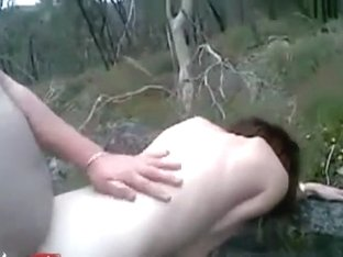 Fat guy has reverse cowgirl and doggystyle sex in the forest