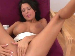 Hot dark haired babe Alison Star solo masturbates
