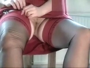 Secretary In Black Fully Fashioned Silk Stockings Gives