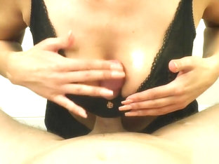 Titfuck In A Lace Bra Natural Tits & Huge Cumshot