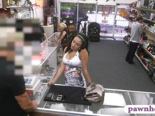 Big titted amateur latina chick gets fucked at the pawnshop