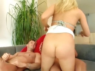 Katy gets all holes pumped by two cocks including a DP and mouthful of cum