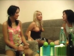 Three dazzling young girls get drunk and engage in hot lesbian action