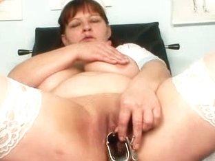 Big juggs wife wears practical nurse uniform