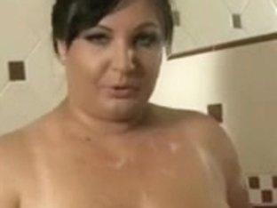 Large older in shower