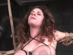 Tiedup bigtitted sub punished with dildo