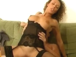 Horny lady in stockings banged by a big French cock