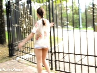 Jeny Smith walks bottomless at park