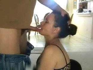 Lustful husband clutch her sexy milf wife hair and put to sucking his cock