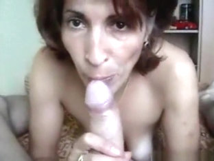 Brunette milf pov blowjob and balls eating in the bedroom
