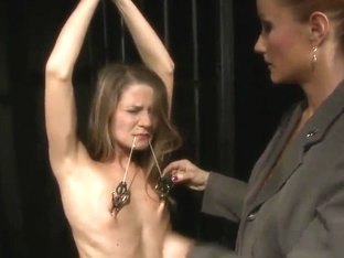 Katy Parker puts clampls on nipples of Lillandra