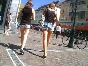 2 German Angels Shopping Hotpants Upskirt Great Gazoo Legs