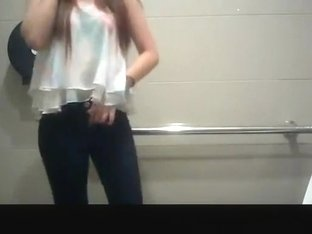 Asian girl spied in public toilet peeing