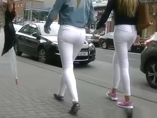 CandiBlonde teens in tight white jeans