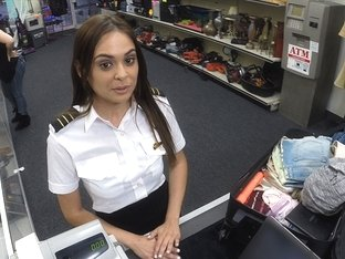 Slutty and sexy latina stewardess selling a luggage gets fucked