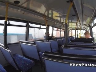 Threesome fuck party in public bus