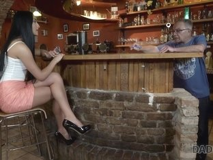 DADDY4K. Young girl and boyfriend's daddy embark sensual sex in bar