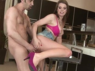 Cute young brunette chick Mona Lee is standing on her knees and front of her boyfriend and doing b.