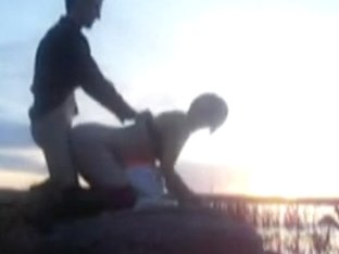 I bang my babe during sunset on the lake