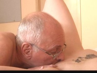 young babe sucking and licking old dick