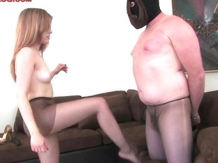 Blond Mastix Femdom Hose Foot Fetish