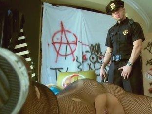Pantyhose bitch Jessie Rogers serves a cop's cock!