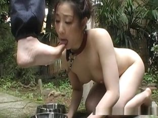 Cute Asian chick acting like a fucking doggy