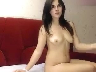 Naked brunette Choco1ate on the couch