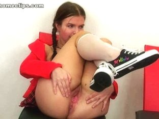 Nasty slut pretends to be a schoolgirl