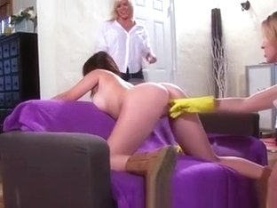 Hot Chicks Finger Pussy While Cleaning Up