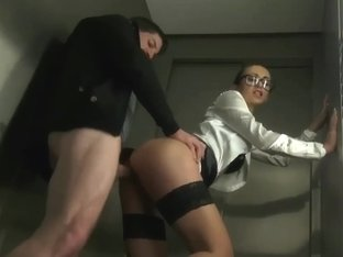 Young German Secretary Gets Huge Facial in Elevator