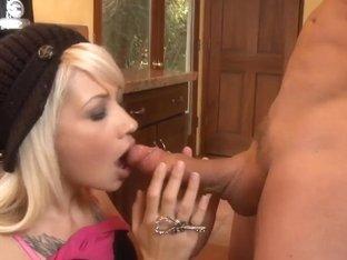 Delicious blonde Coco Velvett visiting neighbour for bone